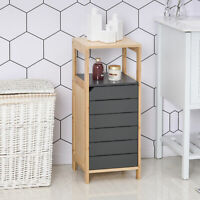 Contrasting Bathroom Storage Cabinet w/ Bamboo Frame Cupboard Shelf Grey