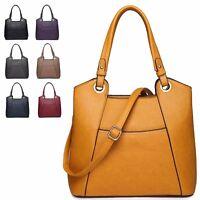 Ladies Faux Leather Panelled Shoulder Bag Evening Party Handbag Tote Bag MA34951