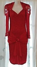 RED HOT Vintage BODY CON Sequin Lace DRESS Cocktail PARTY PROM Gown 11/12 Medium