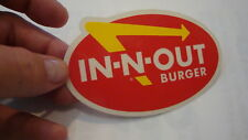 IN-N-OUT BURGER , VINTAGE BUMPER STICKER, FOR YOUR CAR OR TRUCK, WEATHER-PROOF