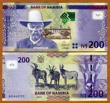 Namibia, 200 dollars, 2012, P-New, UNC > Antelopes