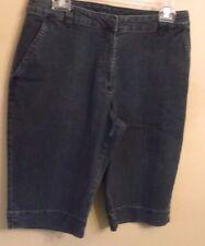 "Kim Rogers Blue Denim Cotton/Poly/Spandex Long Shorts Inseam 13"" Size 8 EUC"