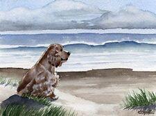 COCKER SPANIEL Beach Watercolor OVERSIZED ART Print DJR