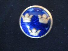 &3gold tone crowns pin/brooch Cc Sporrong vintage Cobalt enamel