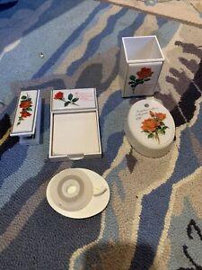 VINTAGE DESK TOPPERS  Roses DESK SET. HALLMARK SPRINGBOK JAPAN USED D1