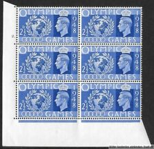GB 1948 KGVI Olympic Games. 2½d Cylinder Block of 6. Cyl  2 Dot. MNH
