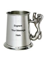 NEW Personalised 1 Pint Lion Handle Polished Pewter Tankard Any Message Engraved
