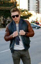 LEVI'S MADE & CRAFTED TWO TONE LEATHER VARSITY BOMBER JACKET L MADE IN ITALY LVC