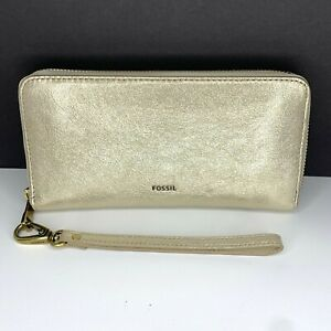 Fossil Wallet EMMA Taupe Clutch Billfold Sparkle Goat Hide Leather RFID Blk NWT