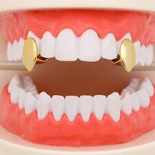 2PCS Vampire Fang Grillz Silver 14k Gold Plated Single Teeth Hip Hop Jewelry rap