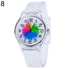 Am_ Transparent Kids Women Colorful Dial Jelly Quartz Analog Wrist Watch Lot Sof