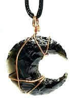 Obsidian Moon Wire Wrapped Pendant Real Crystal Gemstone Protection Necklace