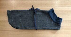 Greyhound coat, grey and brown wool check