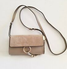 Chloe Mini Faye Suede & Leather Wallet on a Chain Motty Grey Gray Crossbody Bag