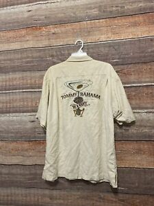 TOMMY BAHAMA button up SILK Shirt DRY & MIGHTY Embroidered Martini Cigar Camp XL