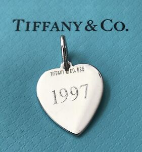 Tiffany & Co. J•L 1997 Sterling Silver .925 Heart Charm Tag Pendant
