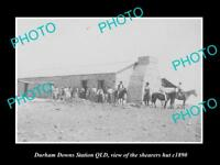 OLD LARGE HISTORIC PHOTO OF DURHAM DOWNS WOOL SHEARERS HUT c1890 QLD