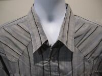 Rock Canyon Western Cowboy Gray Black Striped Pearl Snap L/S Shirt Big Man XXL
