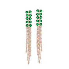 Made Using Swarovski Crystals Green Waterfall Fringe Earrings $110 S12