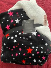 New Victoria's Secret Blanket sherpa and fleece black with stars