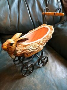 Antique Rabbit Head Wicker Baby Doll Carriage