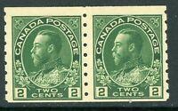 Canada 1922 Admiral Coil Pair Perf 8 Vert 2¢ Green Scott #128  MNH H804 ⭐⭐⭐⭐⭐⭐