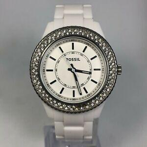 Fossil ES2444 Womens MultiDial White Bracelet Crystal Accent Quartz Analog Watch