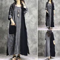 UK Womens Oversized Long Sleeve Check Patchwork Dress Kaftan Baggy Maxi Dresses