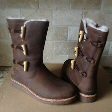 UGG Kaya Chocolate Water-resistant Oiled Leather Boots US 12 Womens 1012035