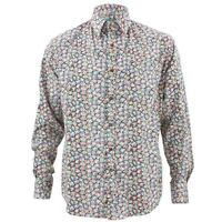 Mens Loud Shirt Retro Psychedelic Funky Party TAILORED FIT Black Floral