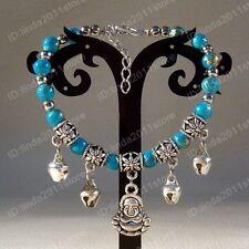 Handmade Tibet Tibetan silver ladies blue beaded bracelet/Buddha bangle