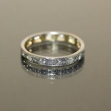 Antique 18k White gold Natural VVS Old Mine Cut Diamond Eternity ring band .60ct