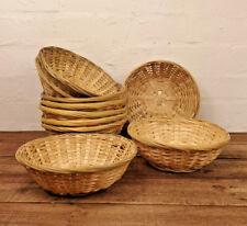 Set Of 10 Vintage Round Natural Bamboo Wicker Bread Basket Storage Hamper Trays