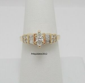 1/2CT Marquise Diamond Solitaire Engagement Wedding Bridal Ring 14K Yellow Gold