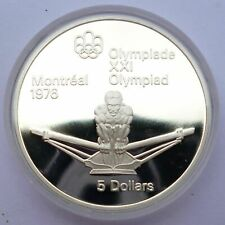 Canada 5 Dollars 1974 Silver coin Proof Rower - Montreal Olympics 1976