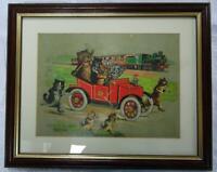 Antique Louis Wain Framed Print Original Cats Steam Train Car Anthropomorphic