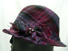 PURPLE PLAID - S/M SIZE - FEDORA STYLE CAP HAT!