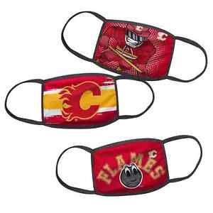 Calgary Flames Kids Child Age 4-7 NHL Hockey Pack of 3 Face Covering Mask