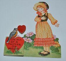 """Cute Vintage 1940s Valentine's 4.5"""" Card Robin Delivering Girls Pop-Up Message"""