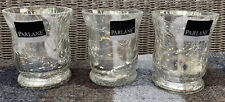 Parlane Glass Silver Crackle Tea Light Holder Set Of 3 Brand New