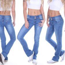 Damen Bootcut Jeans Schlaghose Hüftjeans Low Rise Schlagjeans Schlag  Blau M57