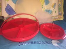 VINTAGE TUPPERWARE RED PARTY SUSAN # 405 DIVIDED SERVING SUZETTE 608 HANDLE LOT