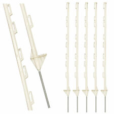 WHITE PLASTIC FENCING PINS POSTS STAKES. 1m high for Temporary Event Fencing x 5