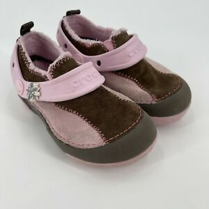 Crocs Dawson Girls Sz C 10 Toddlers Pink Brown Faux Suede Fur Lined Clog slip-on