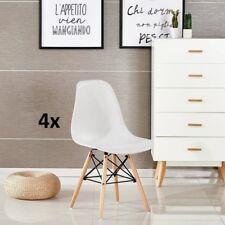 Pack 4 sillas de comedor Blanca silla diseño nórdico retro eiffel dsw estilo
