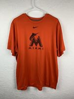 Nike Miami Marlins Shirt Adult Orange Black Dri Fit MLB Baseball Mens Size XL