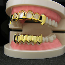 14k Gold Plated Hip Hop Teeth Hollow Fang Top & Solid Fangs Bottom Grillz Set