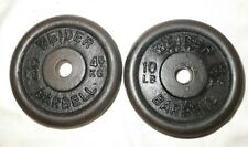 "Pair of 2 Vintage Weider Cast Iron 10 Lb. Barbell  Plates 20 Lb. Total, 1"" Hole"