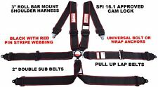 6 Point Racing Harness Pull Up Lap Belt Bar Mount 3 Cam Lock Sfi 161 Blackred