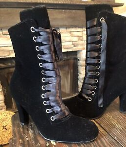 """2/"""" Black Lace Up Victorian Steampunk Low Granny Ankle Boots Booties Shoes"""